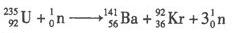 铀元素的核裂变方程